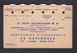 Carte à Systeme Publicitaire Petit Calculateur M.D. Convertisseur Francs Anciens Nouveaux Assurances La Nationale - Publicités