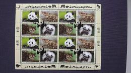 UNO-New York 1304/7 Oo/used KB/sheet, Gef. Arten: Großer Panda, Kurzhorn-Chamäleon, Tigerkatze, Lisztäffchen - New-York - Siège De L'ONU