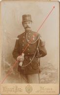 Photo Sur Carton Militaire Médaille Décoration Josz Mons Commandant De Compagnie 1896 Signée Au Dos - Guerre, Militaire
