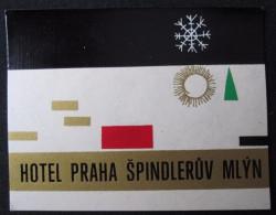 HOTEL CAMPING MOTEL INN PRAHA SPINDLERUV MLYN CSSR CZECH CHEKOSLOVAKIA LUGGAGE LABEL ETIQUETTE AUFKLEBER DECAL STICKER