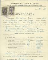 CROATIA   --  SOKOLSKA ZUPA ZAGREB  --  FALCON COUNTY, LEADER  --  CERTIFICATE  --  1936   --   TIMBRE FISCAL, TAX STAMP - Diplome Und Schulzeugnisse