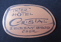 HOTEL CAMPING MOTEL CRISTAL INTER ZELEZNY BROD CSSR CZECH CHEKOSLOVAKIA LUGGAGE LABEL ETIQUETTE AUFKLEBER DECAL STICKER
