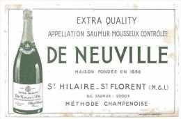 BUVARD ALCOOL MOUSSEUX SAUMUR DE NEUVILLE A ST-HILAIRE-ST-FLORENT 37 CHAMPAGNE VIN - Buvards, Protège-cahiers Illustrés