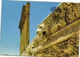 LIBAN  BAALBECK Tete de Lion et les six Colonnes du Temple de Jupiter  Recto Verso Beau Timbre Liban Poisson