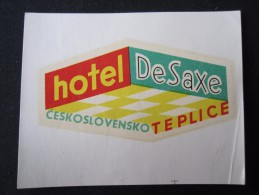 HOTEL CAMPING MOTEL INN DE SAXE TEPLICE CSSR CZECH CHEKOSLOVAKIA LUGGAGE LABEL ETIQUETTE AUFKLEBER DECAL STICKER