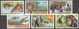 Gabon 1966 - MNH - Chimp, Crocodile, Elephants, Hippo, Leopard - Francobolli