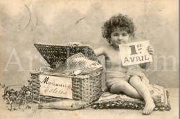 Postcard / CP / 1 April / Aprilvis / 1 Aprilgrap / April Fools´ Day / Child / Enfant / Phototypie A. Bergeret  / 1904 - Bergeret
