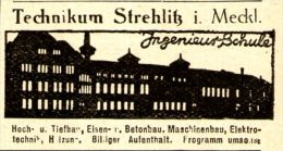Original-Werbung/ Anzeige 1926 - TECHNIKUM STREHLITZ ( STRELITZ?) IN MECKLENBURG - Ca. 45 X 25 Mm - Werbung