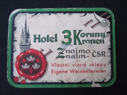 HOTEL CAMPING MOTEL INN CROWN KRONEN CSSR CZECH CHEKOSLOVAKIA LUGGAGE LABEL ETIQUETTE AUFKLEBER DECAL STICKER