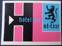 HOTEL CAMPING MOTEL INN LEV AS STRIBRO CSSR CZECH CHEKOSLOVAKIA LUGGAGE LABEL ETIQUETTE AUFKLEBER DECAL STICKER