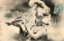 Postcard / CP / 1 April / Aprilvis / 1 Aprilgrap / April Fools´ Day / Femme / Woman / Phototypie A. Bergeret / 1906 - Bergeret
