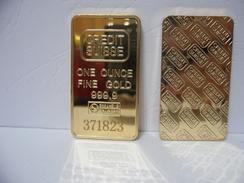 LINGOTTO BAR CREDIT SUISSE ONE OUNCE FINE GOLD 999,9 FINE GOLD 24K PLACCATO DA COLLEZIONE - Monete & Banconote