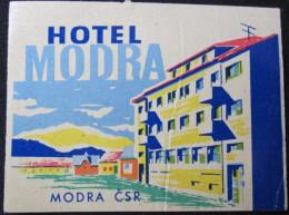 HOTEL CAMPING MOTEL INN MODRA INTERHOTEL CSR CSSR CZECH CHEKOSLOVAKIA LUGGAGE LABEL ETIQUETTE AUFKLEBER DECAL STICKER