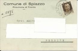 PU51 - CARTOLINA COMUNE DI SPIAZZO - DA SPIAZZO A PERGINE 1.11.35 - Advertising