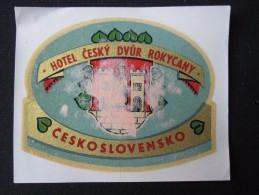 HOTEL CAMPING MOTEL CESKY DVUR ROKYCANY CSR CSSR CZECH CHEKOSLOVAKIA LUGGAGE LABEL ETIQUETTE AUFKLEBER DECAL STICKER