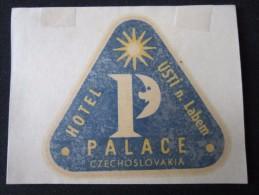 HOTEL CAMPING MOTEL PALACE USTI LABEM CSR CSSR CZECH CHEKOSLOVAKIA LUGGAGE LABEL ETIQUETTE AUFKLEBER DECAL STICKER