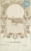 ÂNE - Un Attelage, Carte Photo Illustrée En 1906. - Anes