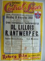 Affiche poster Brasserie Brouwerij Yperse Centrale ROBERG PILS drinkt Central's LAGER. Ieper voetbal Lille-Antwerp 1950