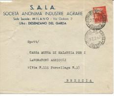 PU77 - BUSTA S.A.I.A. SOCIETA' ANONIMA INDUSTRIE AGRARIE - DA DESENZANO DEL GARDA A BRESCIA 27.2.47 - Pubblicitari