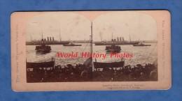 Photo ancienne st�r�o d�but 1900 - LIVERPOOL - Landing Stage - Bateau � Vapeur Paquebot Port Harbour