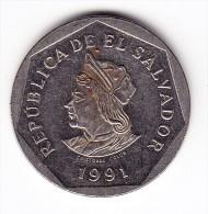 1991 El Salvador 1 Colon  Coin - El Salvador