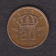 BELGIQUE BAUDOUIN  20 CENTIMES  BRONZE MONETAIRE TYPE MINEUR  ANNEE 1960 (flamande)  LOT N°195 - 01. 20 Centimes