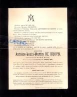 Devotie Doodsbrief Overlijden Antoine De Bruyn - Saint Trond - Sint Truiden 1827 - 1899 - Décès