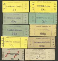 QX573 ENGLAND London Transport 10 Tickets Wanstead Chancery Lane Oxford Circus Paddington - Railway