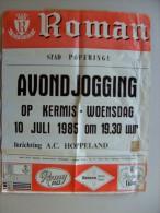 Affiche poster Brasserie BROUWERIJ ROMAN 1545 Romy Pils, Luxe, Oudenaards POPERINGE avond jogging 10/7/1985