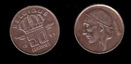 BELGIQUE BAUDOUIN  50 CENTIMES  BRONZE MONETAIRE TYPE MINEUR  ANNEE 1991 (française)  LOT N°190 - 03. 50 Centiem