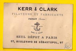 Ca1865 FILATEURS & FABRICANTS PAISLEY Ecosse KERR & CLARK 75002 PARIS SEMI-CARTE PORCELAINE MODE FABRIQUE Visite P279 - Textile & Vestimentaire