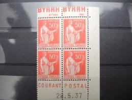 FRANCE - N° 283 - 4 Ex En Coin Daté - Luxes - P 16366 - Werbung
