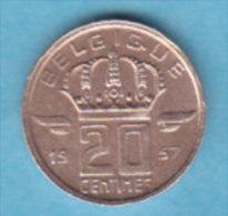 BELGIQUE BAUDOUIN  20 CENTIMES  BRONZE MONETAIRE TYPE MINEUR  ANNEE 1957 (française)  LOT N°59 - 01. 20 Centimes