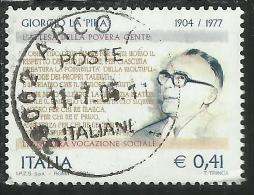 ITALIA REPUBBLICA ITALY REPUBLIC 2004 GIORGIO LA PIRA CENTENARIO NASCITA BIRTH CENTENARY USATO USED OBLITERE´ - 6. 1946-.. Repubblica