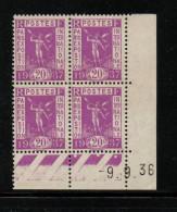 FRANCE    COIN DATE    NEUF Sans Charnière   N°  322    N**  Du  09/09/1936 - 1930-1939