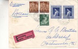 Liechtenstein - Lettre Expres De 1952 - Oblitération Triesenberg - Expédié Vers La Hollande - Peinture - Forgeron - Liechtenstein