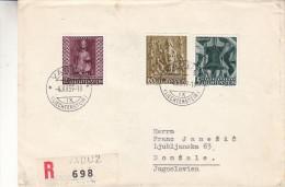 Liechtenstein - Lettre Recommandée De 1959 - Oblitération Vaduz - Expédié Vers La Jugoslavie - Cachet De Luublujana - Liechtenstein