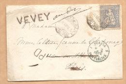 PAS CONNAISSEUR- LETTRE  SUISSE Pour La FRANCE  - Cachet Bleu SUISSE - PONTARLIER 2 SEPT. 1870 + VEVEY + Divers Cachets - Marcophilie (Lettres)