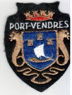 ECUSSON TISSU PORT VENDRES PYRENEES ORIENTALES PAYS CATALAN ARMOIRIES BLASON - Blazoenen (textiel)