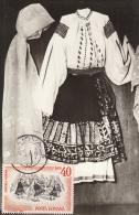 FOLKLORE COSTUME FROM OLTENIA, CM, MAXICARD, CARTES MAXIMUM, 1976, ROMANIA - Costumes