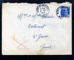 2932-marcophilie-376     Env Marianne 3-12-1954  Mont Saint Michel - Saint Gervais  Gironde - 1921-1960: Periodo Moderno
