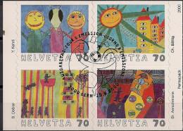 """2000 Schweiz Mi. 1731-4 Used   Internationaler Malwettbewerb Für Kinder """"Zukunft Auf Briefmarken - Switzerland"""