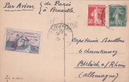 19/5/22 Semeuse 30c TAXE AVION Sur CP 5 Mots Par AVION Affrt 10c > L'Allemagne AU BON TARIF - VIGNETTE GUYNEMER - Postmark Collection (Covers)
