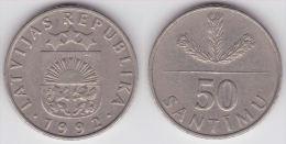 LETONIA   50  SANTIMU  1.992  Cu Ni  KM#13  EBC/XF     DL-11.593 - Letonia