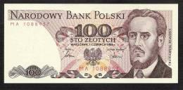 POLOGNE POLAND P143c   100  ZLOTYCH    1986    UNC. - Polen