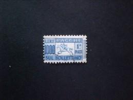 STAMPS ITALIA PACCHI POSTALI 1000 LIRE CAVALLINO AZZURRO OLTREMARE FILIGRANA RUOTA ALATA CS CAPOVOLTA A SINISTRA - 6. 1946-.. República