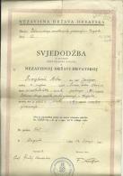 CROATIA, NDH, NEZAVISNA  DRZAVA HRVATSKA --  SCHOOL DIPLOMA, CERTIFICATE, GYMNASIA    1944  -- TIMBRE FISCAL, TAX STAMP - Diplome Und Schulzeugnisse