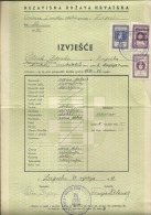 CROATIA, NDH, NEZAVISNA  DRZAVA HRVATSKA --  SCHOOL DIPLOMA, CERTIFICATE, GYMNASIA    1942  -- TIMBRE FISCAL, TAX STAMP - Diplome Und Schulzeugnisse