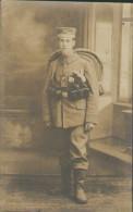Soldaten-Portrait Mit Taschenlampe Und Sturmgepäck, Abschied An Die Front, Foto-Postkarte, Militär, WWI - Guerre 1914-18