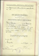 CROATIA, NDH, NEZAVISNA  DRZAVA HRVATSKA --  SCHOOL DIPLOMA, CERTIFICATE, GYMNASIA    1941  -- TIMBRE FISCAL, TAX STAMP - Diplome Und Schulzeugnisse